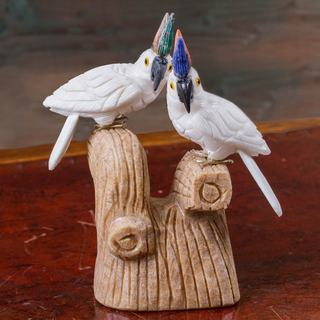 Handmade Multi-gemstone 'Cockatoo Couple' Sculpture (Peru)