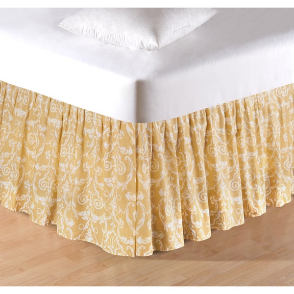 Florence White Damask Swirls Yellow Cotton Ruffled Bedskirt