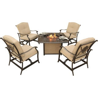 Hanover Traditions Brown Aluminum, Polyester Outdoor 5-piece Seating Set with Cast-top Fire Pit Table