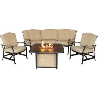 Hanover Outdoor Traditions 4-piece Outdoor Lounge Set with Cast-top Fire Pit