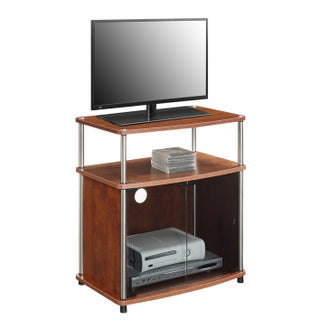 Porch & Den Bywater Montegut Wood TV Stand with Black Glass Cabinet (Option: Cherry)