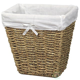 Oak/White Woven Seagrass Storage Bin with White Washable Lining