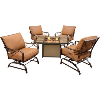 Hanover Outdoor SUMMRNGHTTILE Summer Nights 5-Piece Conversation Set with Tile-top Fire Pit Table