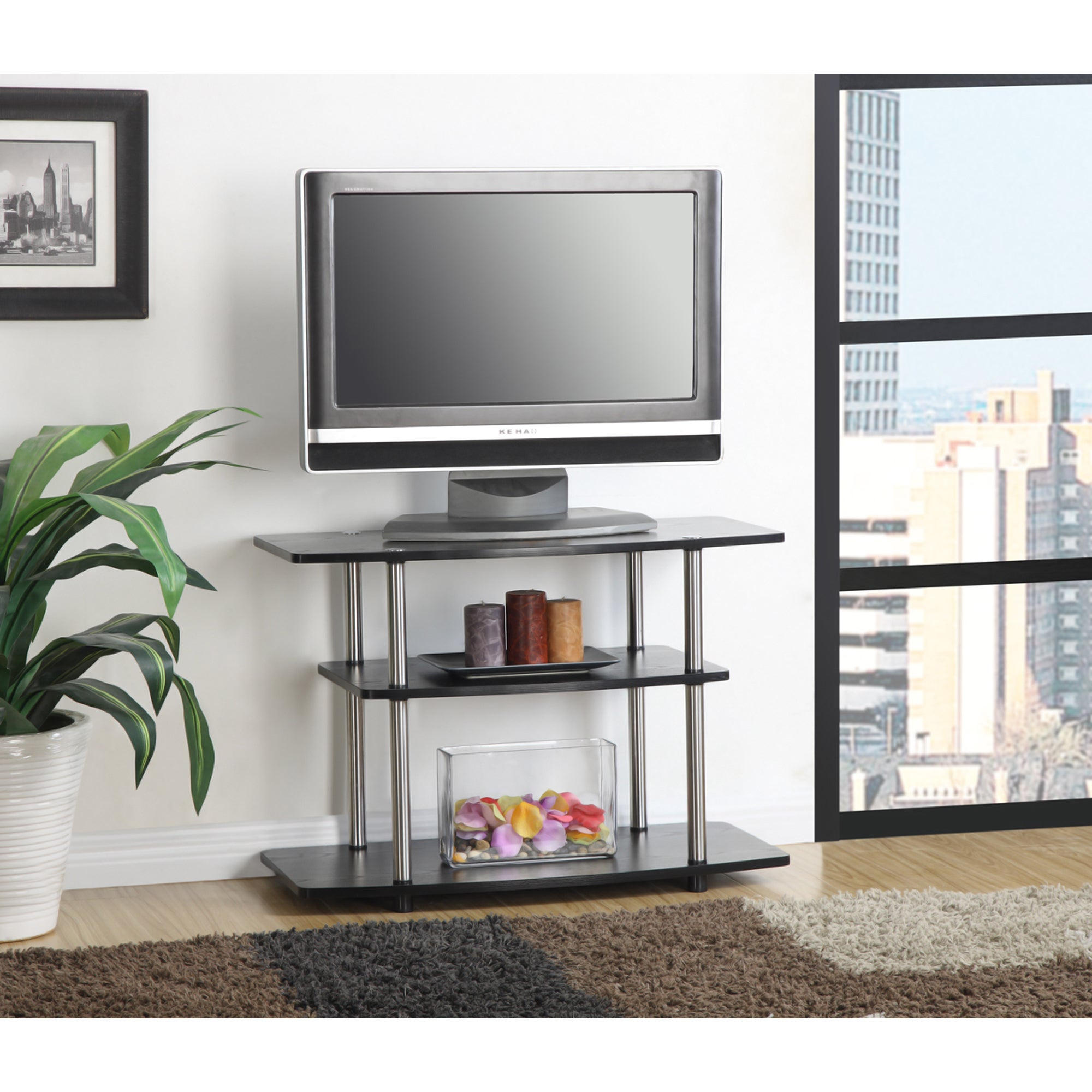 Shop Convenience Concepts Designs2go 3 Tier Tv Stand Free Shipping