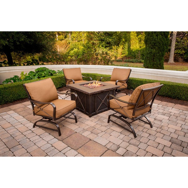 Hanover Outdoor Summer Nights 5 Piece Fire Pit Lounge Set