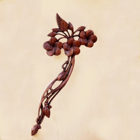 Handcrafted Suar Wood 'Plumeria Bouquet' Relief Panel (Indonesia)