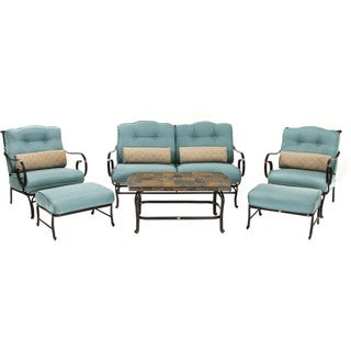 Hanover Outdoor Ocean Blue Aluminum Patio Set with Stone-top Coffee Table