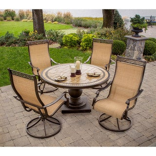 Hanover Outdoor MONACO5PCSW Monaco 51-inch Round Table with 4 Swivel Rockers 5-piece Dining Set