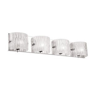 Dainolite Sugar Glass Polished Chrome 4-light Vanity