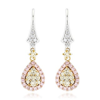 Luxurman 14k Gold 0.95 ct TDW White, Yellow, and Pink Diamond Drop Earrings (G-H, VS1-VS2)