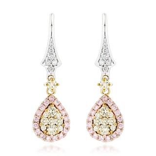 Luxurman 14k Gold 0.95 ct TDW White, Yellow, and Pink Diamond Drop Earrings|https://ak1.ostkcdn.com/images/products/12008014/P18884923.jpg?_ostk_perf_=percv&impolicy=medium