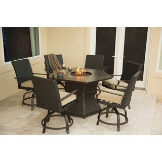 Hanover ASPENCRK7PCFP Aspen Creek Outdoor 7-Piece Fire Pit Dining Set
