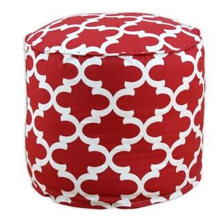 Fynn Timberwolf Macon Red/Cream Cotton 20-inch x 17-inch Round Ottoman
