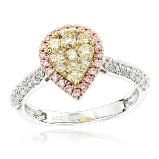 Luxurman 14k Gold 7/8ct TDW White, Pink, Yellow Diamond Pear Shape Engagement Ring (G-H, VS1-VS2)