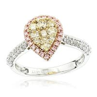 Luxurman 14k Gold 7/8ct TDW White, Pink, Yellow Diamond Pear Shape Engagement Ring