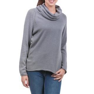 Handmade Cotton Alpaca 'Misty Warmth' Sweater (Peru)