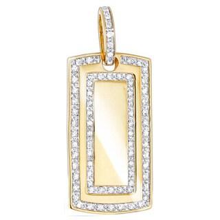 Luxurman 14k Gold 1ct TDW Diamond Dog Tag Military Pendant (2 options available)