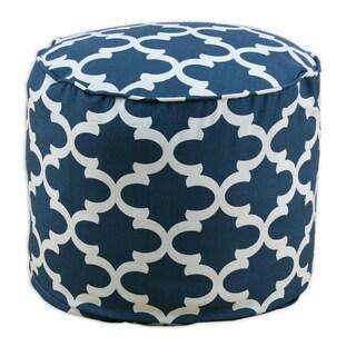 Fynn Cadet Macon Blue, Cream Cotton 20-inch x 17-inch Round Ottoman