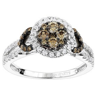 Unique Luxurman 14k White Gold 7/8ct TDW White and Champagne Diamond Engagement Ring (G-H, VS1-VS2)