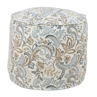 Findlay Seaglass Blue/Brown/Cream Linen 12.5-inch x 12.5-inch Round Ottoman