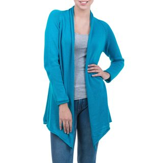 Handmade Cotton and Alpaca 'Andean Blue' Cardigan (Peru) (3 options available)