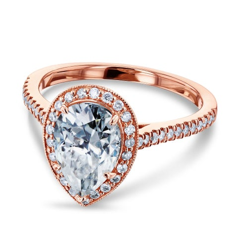 Annello by Kobelli 14k Rose Gold 2 1/10ct Pear Moissanite and 1/3ct TDW Round Diamond Halo Engagement Ring