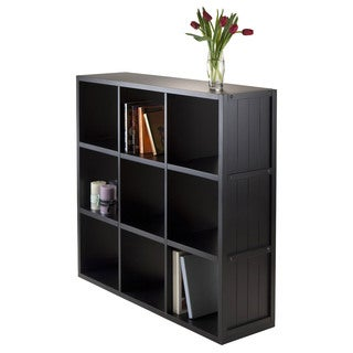 Winsome Timothy Collection Black Wood Cube Wainscoting Panel Storage Shelving Unit