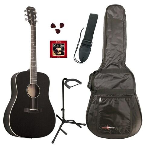 Austin Guitars AA25-DBKPKD Dreadnought Black Acoustic Guitar Pack