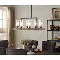 Vineyard 6-Light Metal and Wood Chandelier (As Is Item)