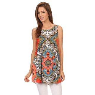 MOA Collection Women's Multicolored Polyester and Spandex Sleeveless Ornate Top