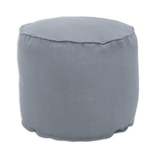 Circa Solid Charcoal Linen 20-inch Round x 17-inch High Corded Bead-filled Hassock