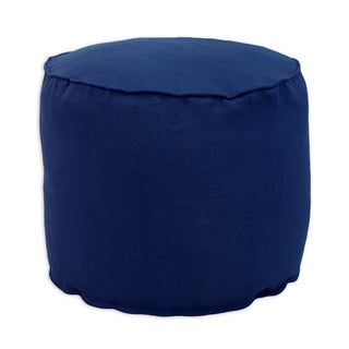 Circa Solid Navy Linen 12.5-inch Round x 12.5-inch High Corded Beads Hassock