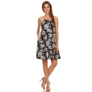 MOA Collection Women's Black/White Polyester/Spandex Sleeveless Floral Tank Dress