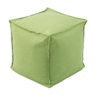 Circa Solid Cactus Linen 12.5-inch Square Seamed Beads Footstool