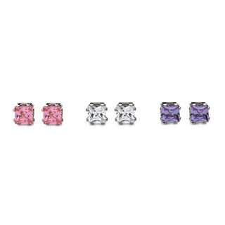 Princess-cut Crystal Stud Earrings