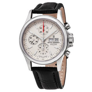 Revue Thommen 'Pilot' Cream Dial Brown Leather Strap Chronograph Swiss Automatic Watch
