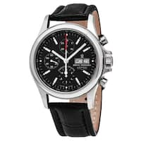 Revue Thommen  'Pilot' Black Dial Black Leather Strap Chronograph Swiss Automatic Watch