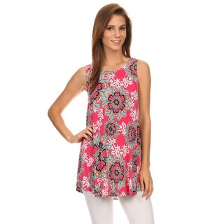 MOA Collection Women's Multicolored Polyester and Spandex Sleeveless Top