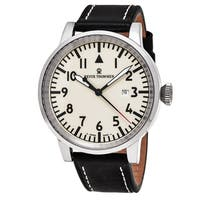 Revue Thommen  'Air Speed' White Dial Black Leather Strap Swiss Automatic Watch