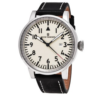 Revue Thommen 16053.2533 'Air Speed' White Dial Black Leather Strap Swiss Automatic Watch
