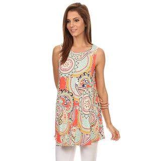 MOA Collection Women's Polyester-blend Paisley Sleeveless Tunic