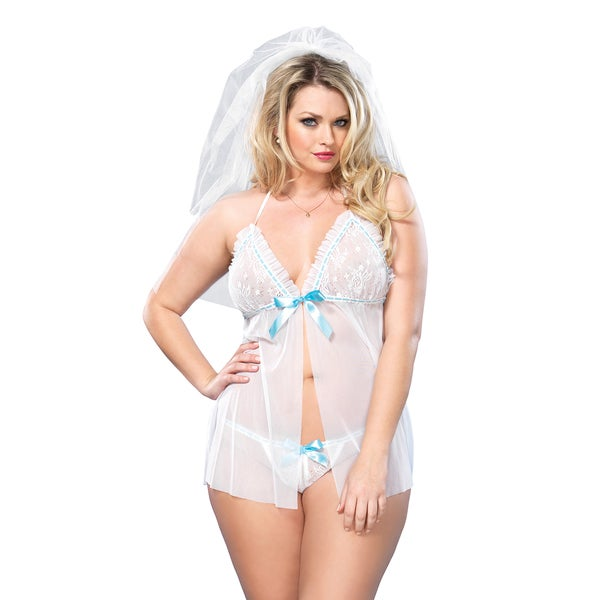 Leg Avenue Women's White Polyester Plus-size 2-piece Bridal Sheer Mesh Babydoll and G-string Set