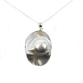 Pearl Lustre Grey Natural Shell Pendant on Sterling Silver Chain