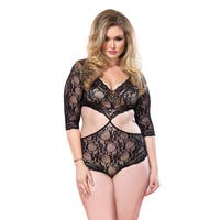 Leg Avenue Women's Nylon Plus Size Floral Lace Teddy with Full Back Panty