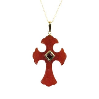 Pearl Lustre Jade Cross Pendant with Princess-cut Garnet and 14k Yellow Gold Chain