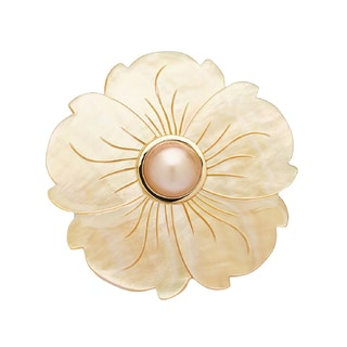 Pearl Lustre 14k Gold Mother of Pearl and Mabe Floral Pin