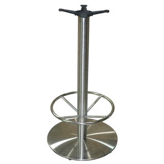 JI Bases Stainless Steel 22-inch Round Bar Height Table Base with 3-inch Column, Footring and 13-inch Top Plate