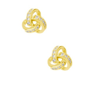 Pori 18k Gold-plated/Rhodium-plated Sterling Silver Love Knot Cubic Zirconia Earrings