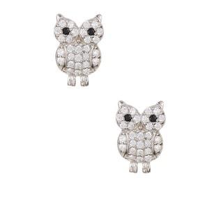 Pori 18k Sterling Silver CZ Owl Earrings