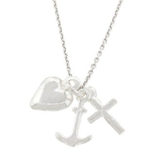 Pori Italian Sterling-silver Faith-Hope-Love Necklace